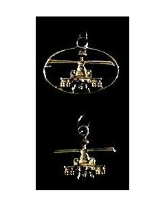 AH-64D Front View Charm- Yellow Gold